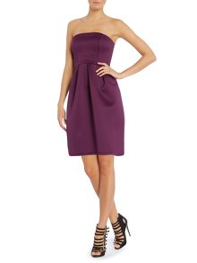 Fifties style strapless dress with dropped hem
