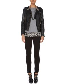 Metallic trim leather jacket