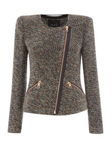 Tweed rose zip jacket