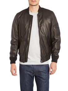 L-Devra three pocket leather bomber jacket