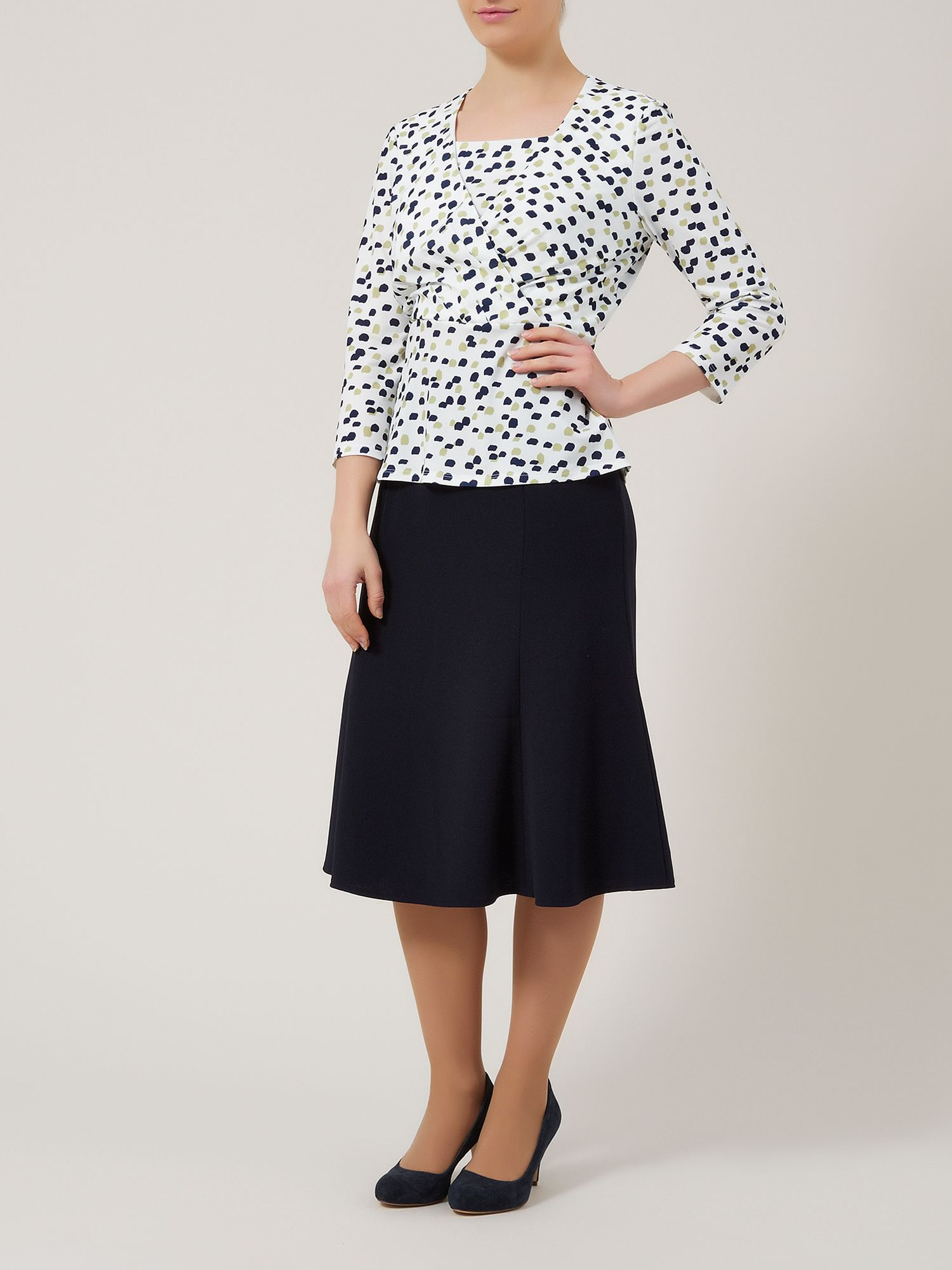 Navy shorter length fit & flare skirt
