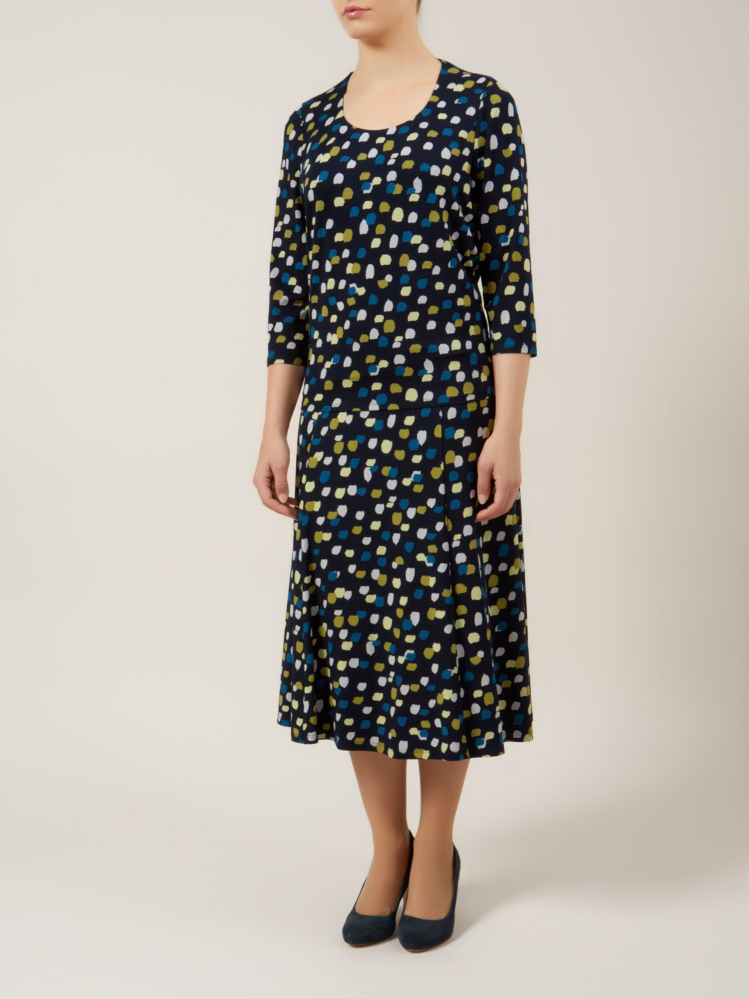 Painterly spot shorter length fit & flare skirt
