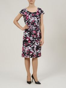 Ditsy brush print dress