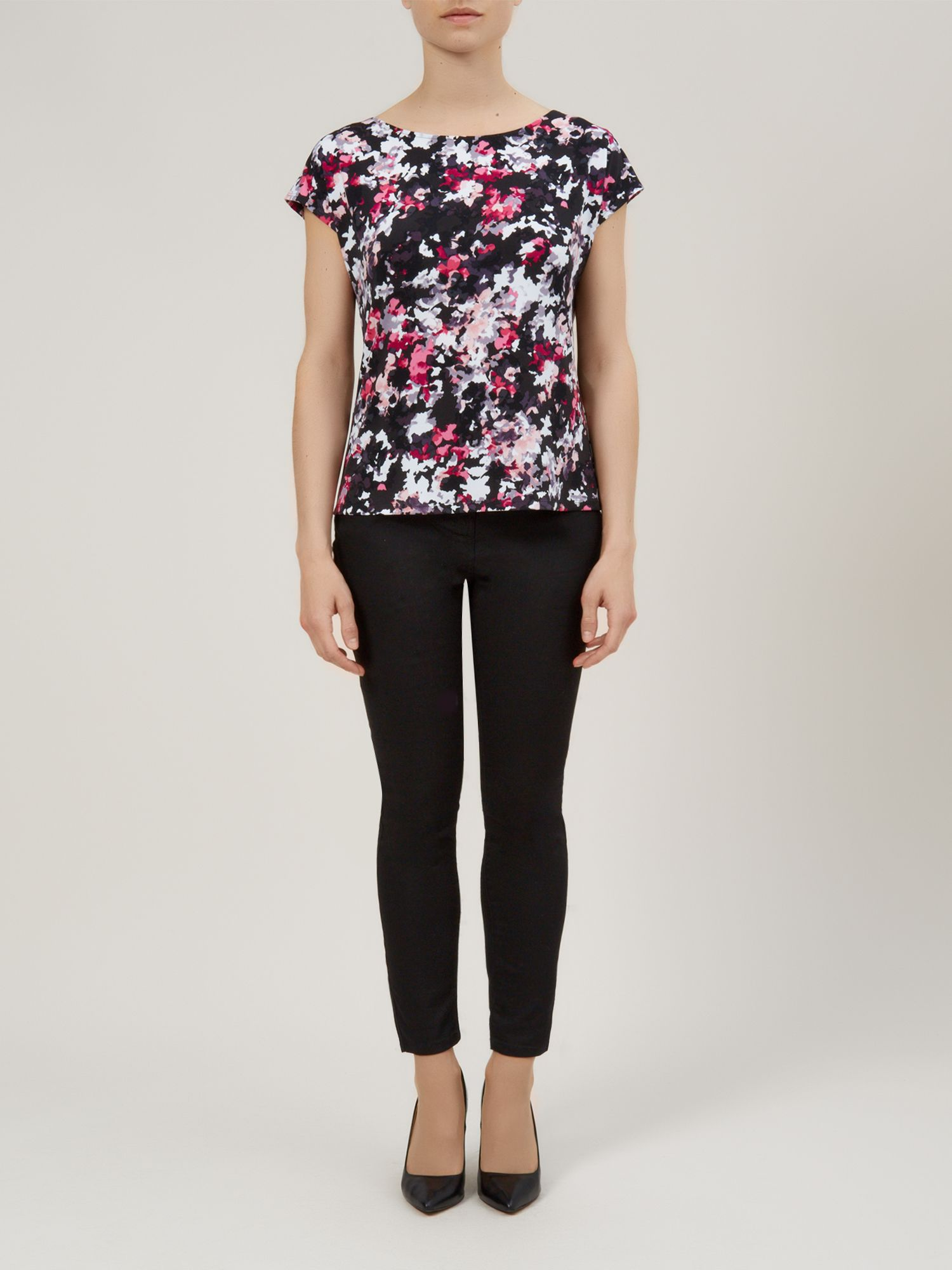 Ditsy brush print top