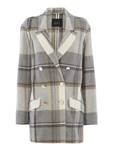 Oui Double breasted checked coat