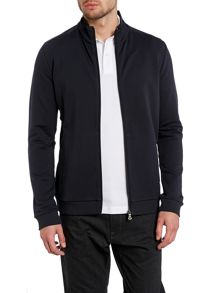 Rib neck 3/4 zip up sweatshirt