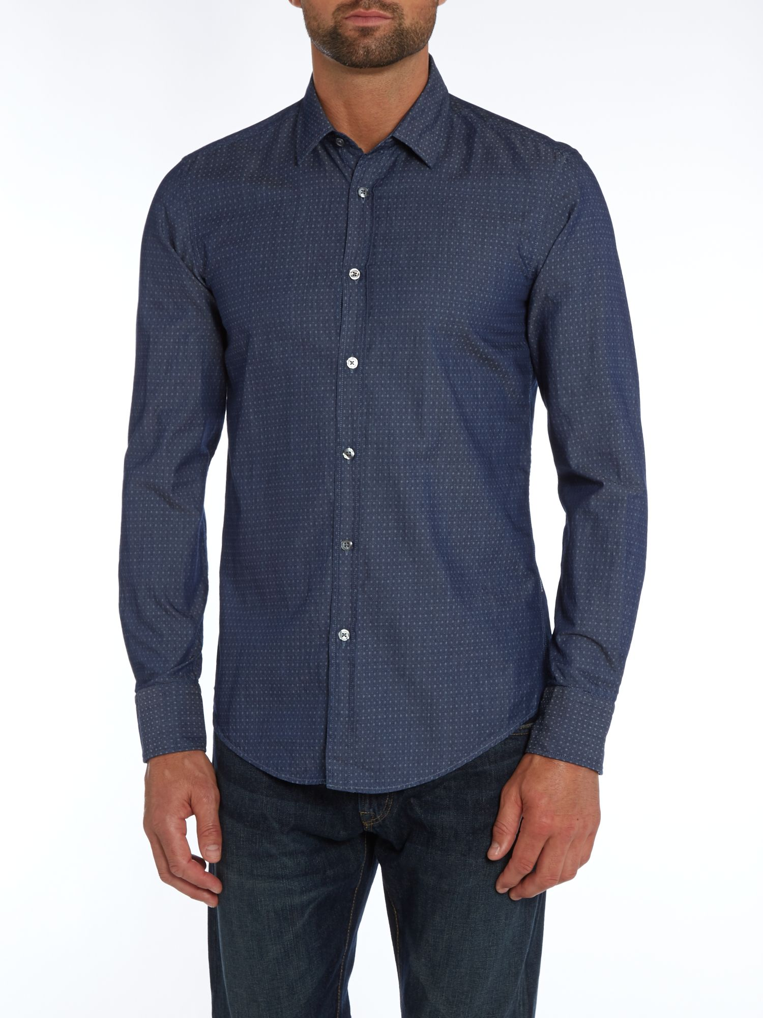 Denim jacquard shirt
