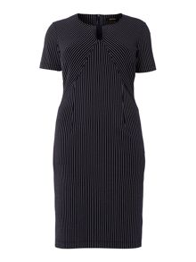 Persona Plus Size Dodici pinstripe shift dress