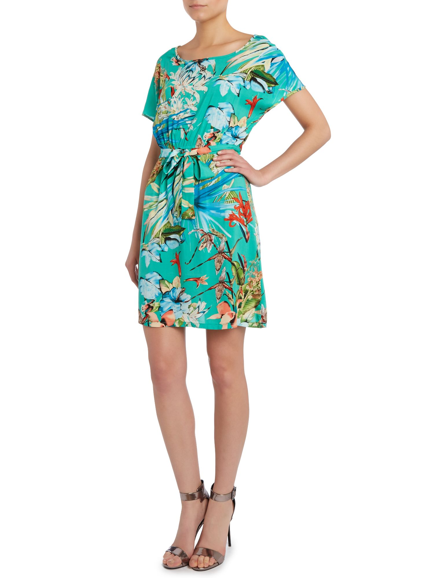 Jungle print belted dress