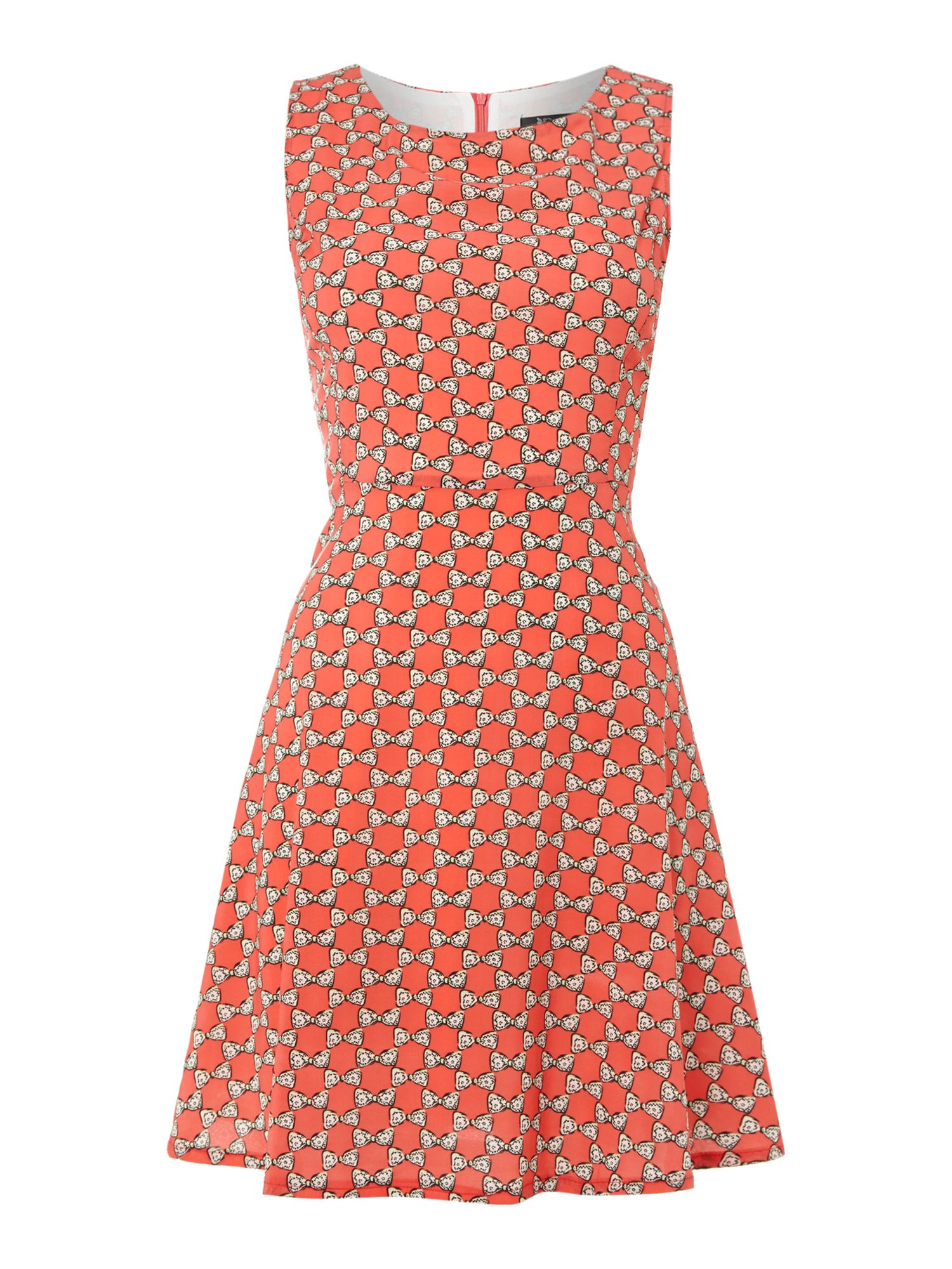 Bow print rayon dress