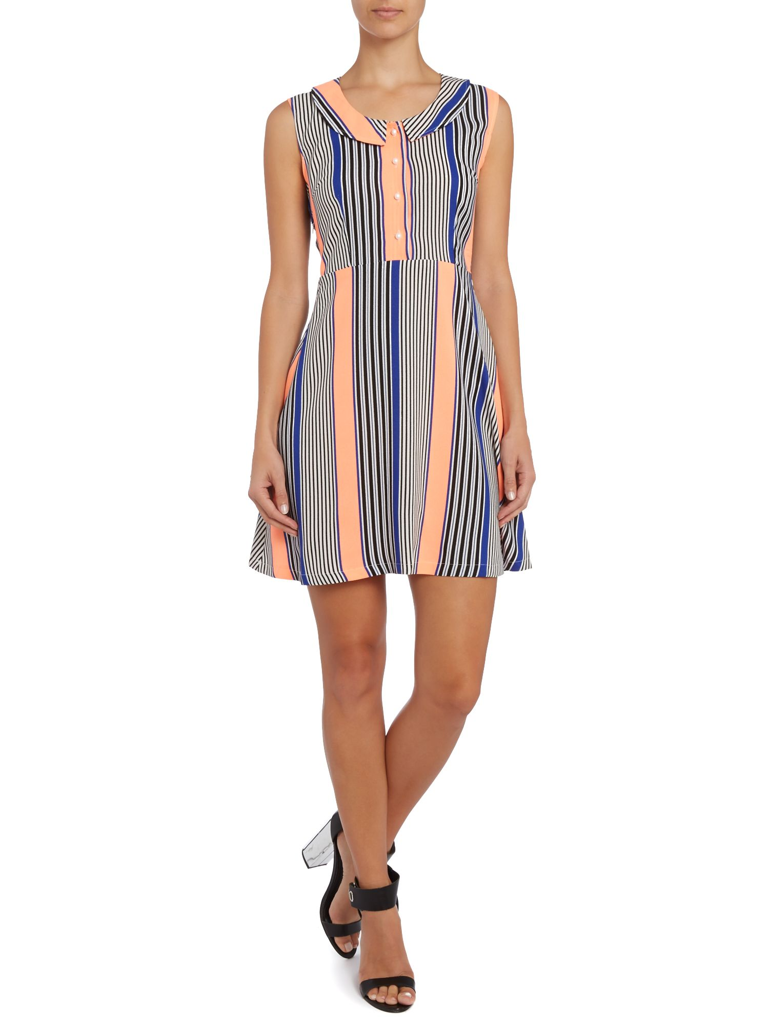 Strip print shirt dress