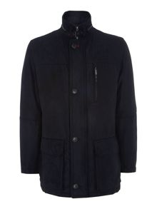 Velour button through funnel neck quilted coat