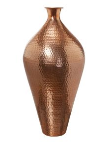 Tall hammered metal vase, copper