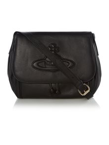 Chelsea black medium flap over cross body bag