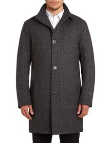 Button through diagonal fleck wool blend coat