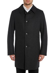 Button through wool blend overcoat