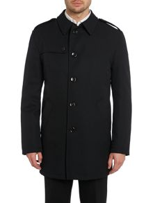 Premium button through overcoat with epaulettes