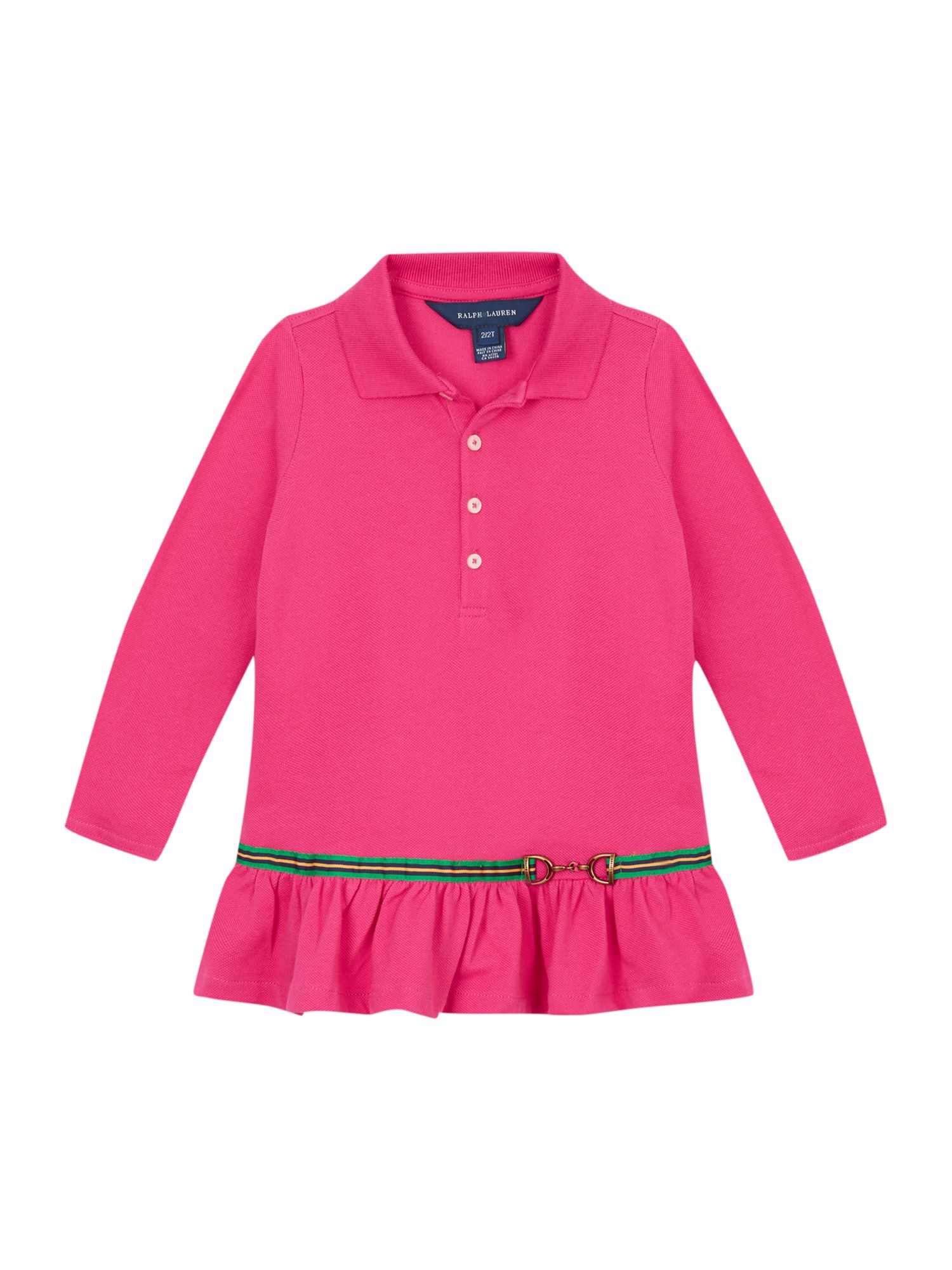Girls polo dress with ribbon and drop waist