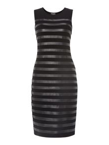 Sleeveless pu stripes dress