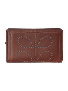 Tan large embossed flapover purse