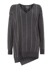 V Neck Pinstripe Knit
