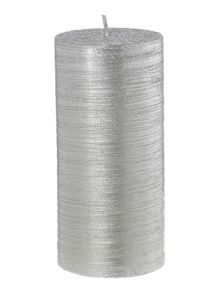 Large silver glitter candle