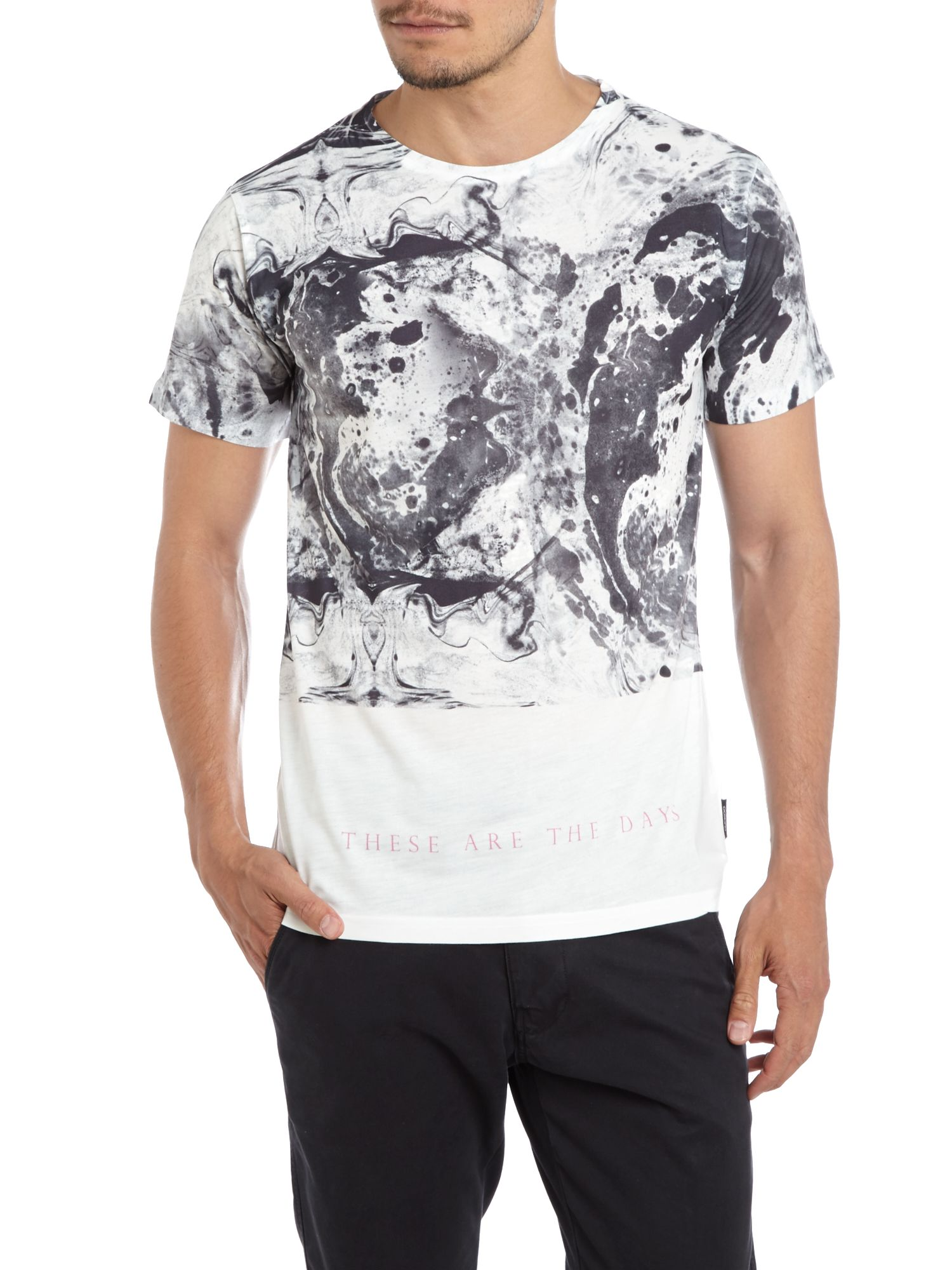Oil spill printed t-shirt