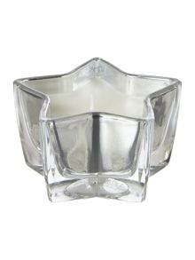 Silver star glass candle