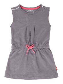 Girls drawstring dress with contrast tie