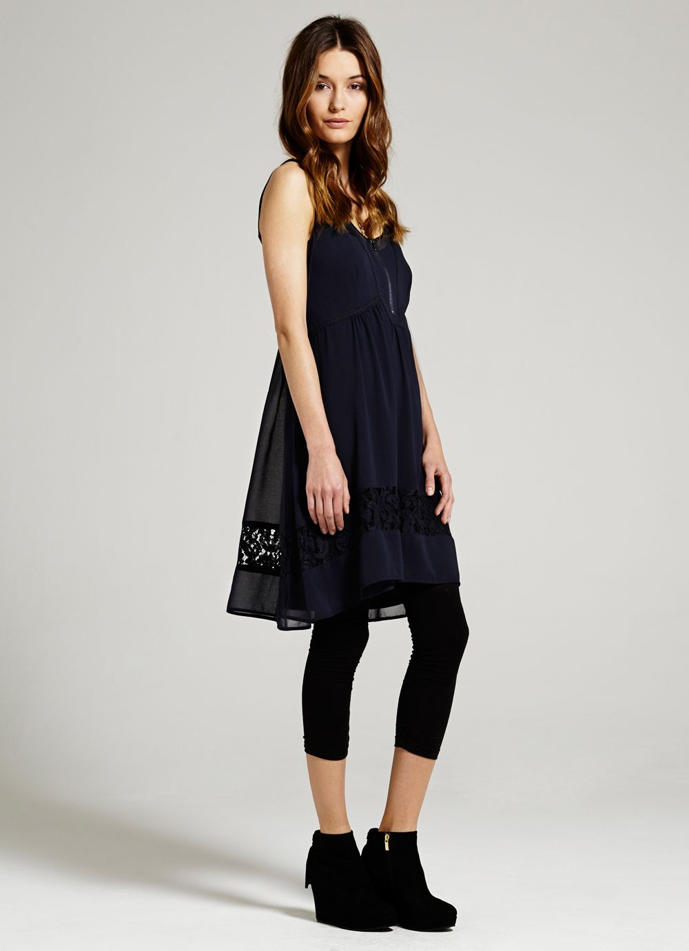 Ink block lace dress