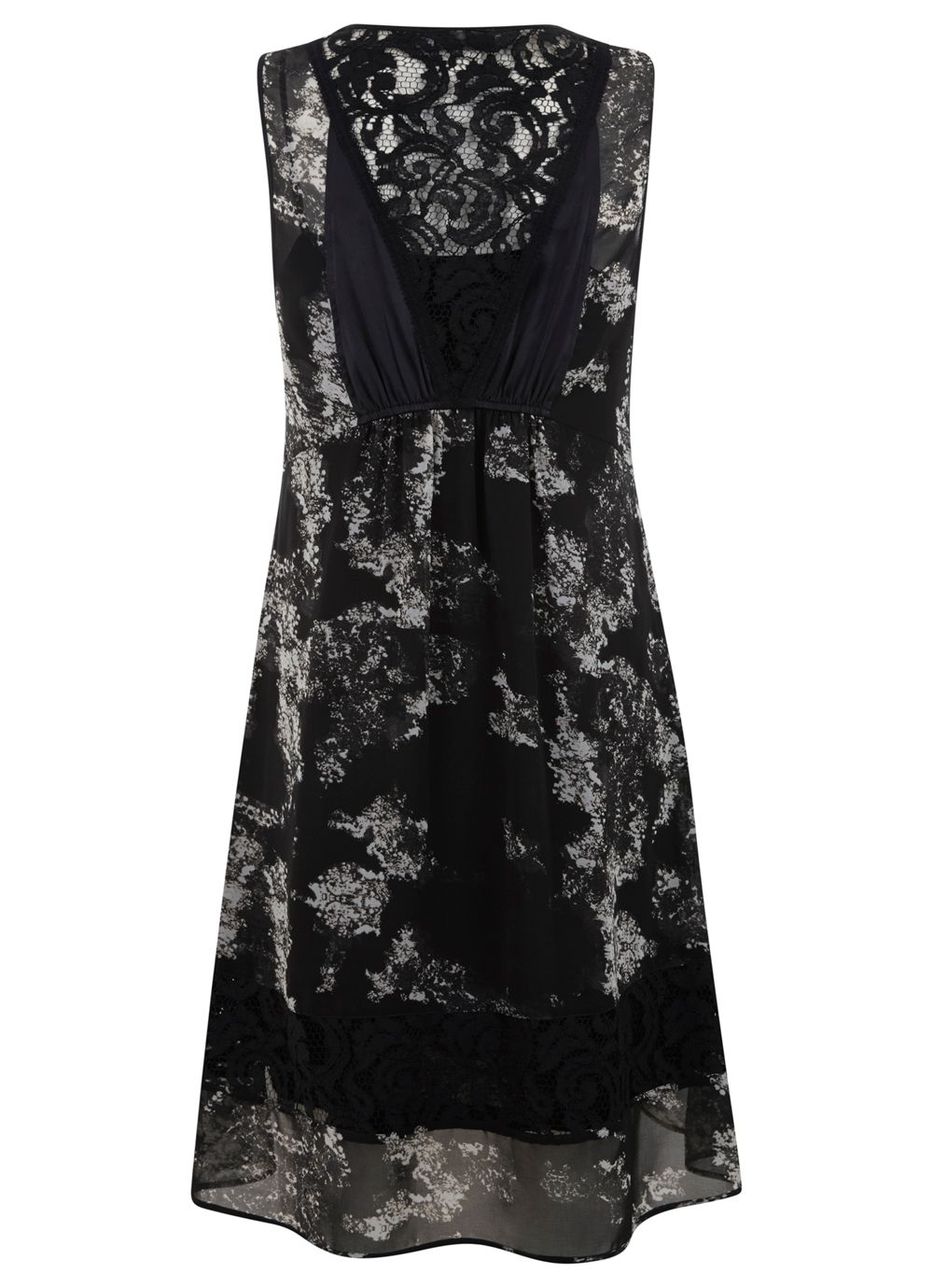 Avita print block lace dress
