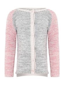 Girls Contrast Sleeve Cardigan