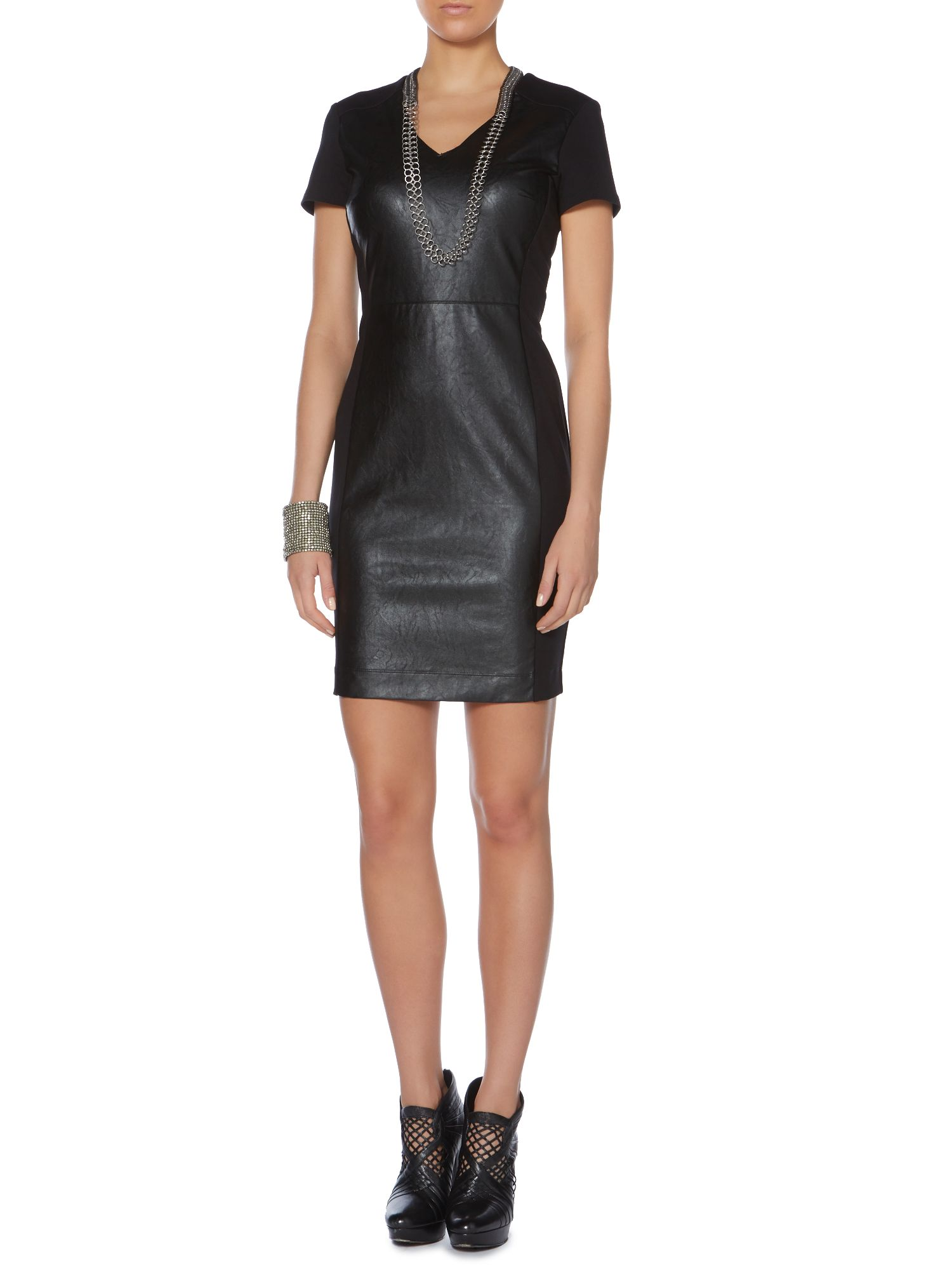 PU panelled v neck shift dress