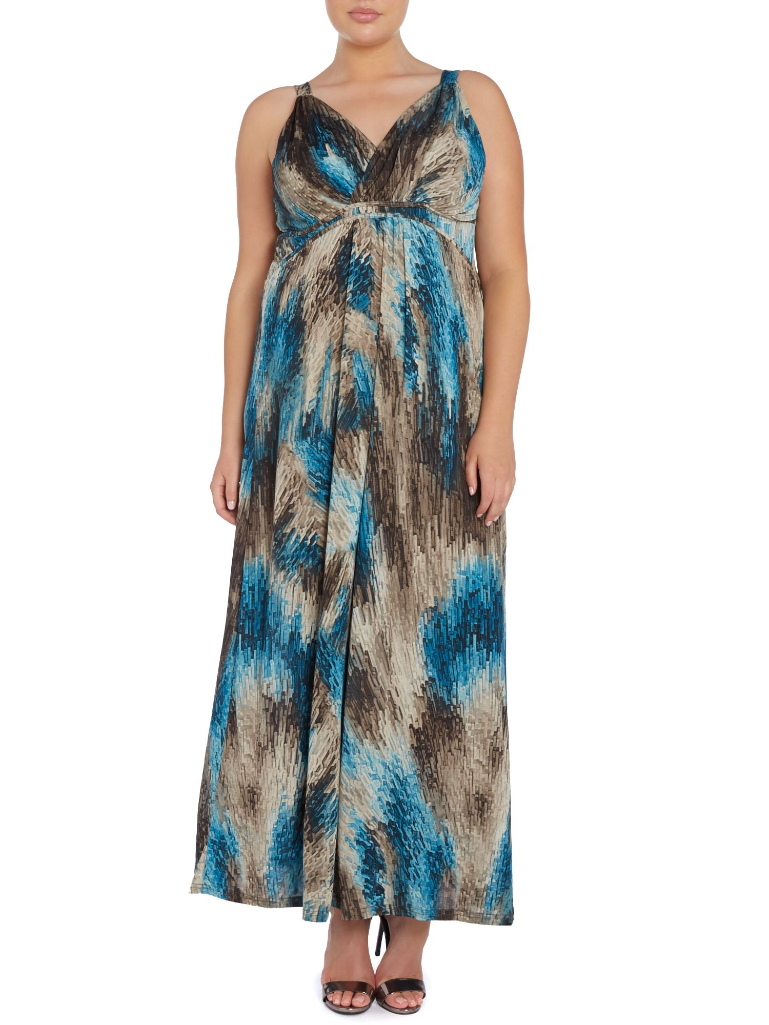 Abstract strokes empire line maxi