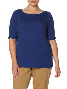 Boat neck rolled sleeve top