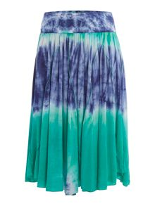Tie dye handkerchief skirt with fold over
