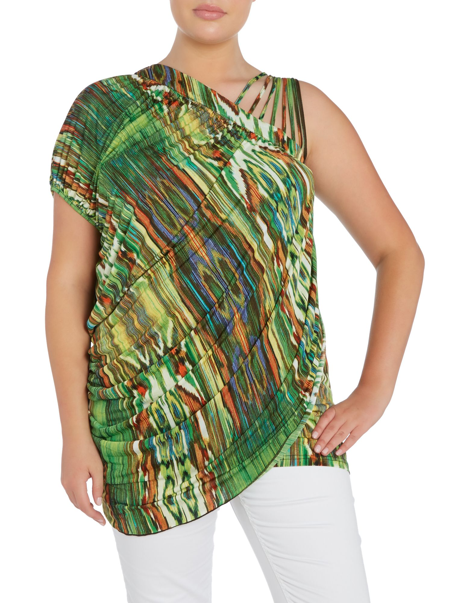 Abstract cut out shoulder top