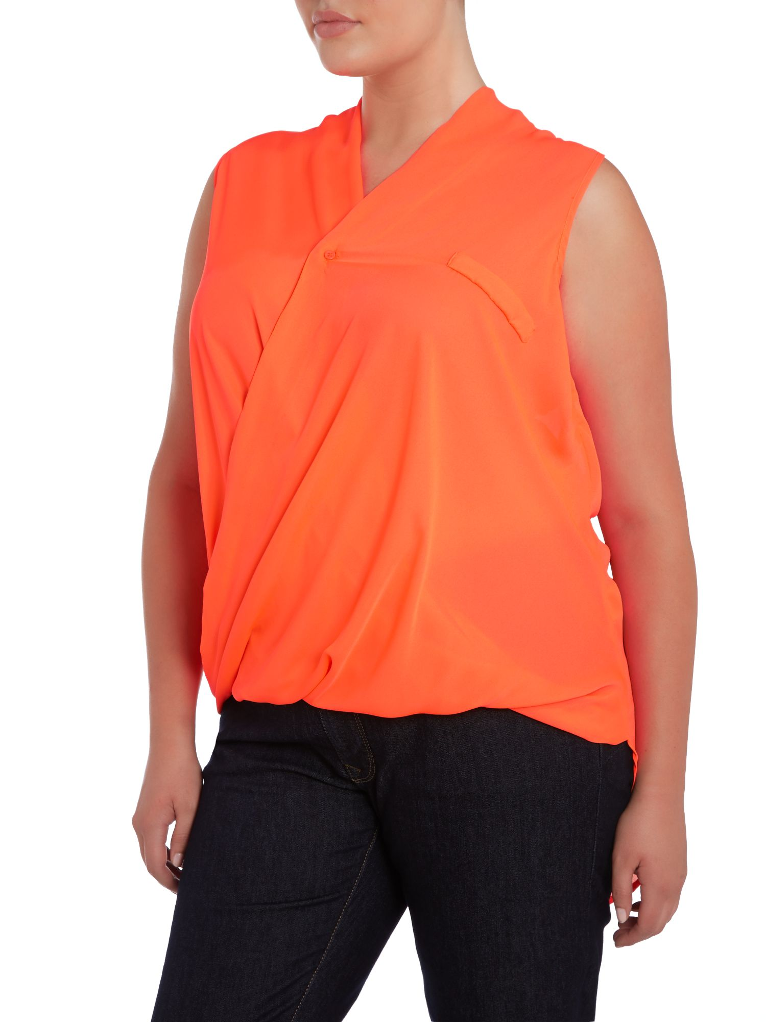 Crossover pleat front top with dip hem
