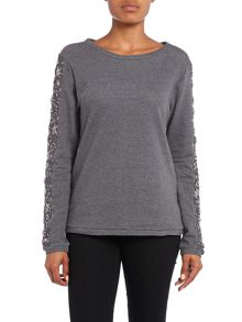 Hoss Intropia Embelished sleeve sweater
