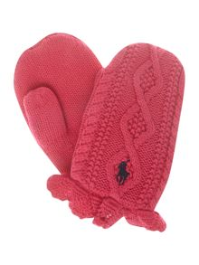 Girls small pony knitted mittens