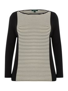 3/4 sleeve striped top