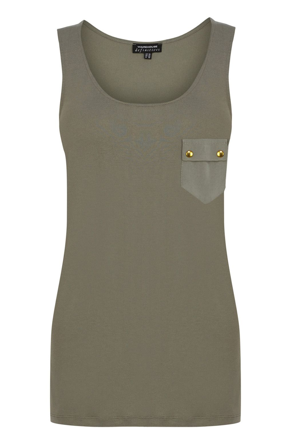 Button pocket vest top