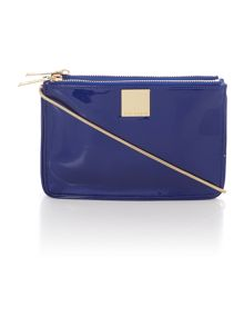 Blue cross hatch cross body bag