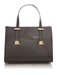 Grey cross hatch mini cross body tote bag