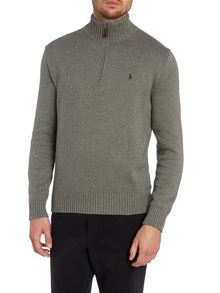 Funnel neck half zip mock pullover