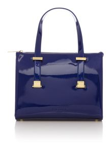 Blue cross hatch mini cross body tote bag