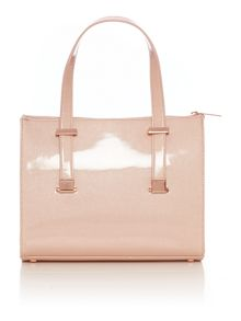 Nude cross hatch mini cross body tote bag