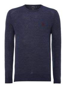 Crew neck slim fit merino wool jumper