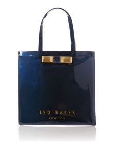 Navy large bowcon tote bag