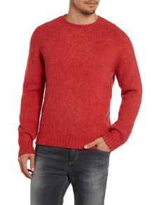 Crew neck wool jumper with elbow patch